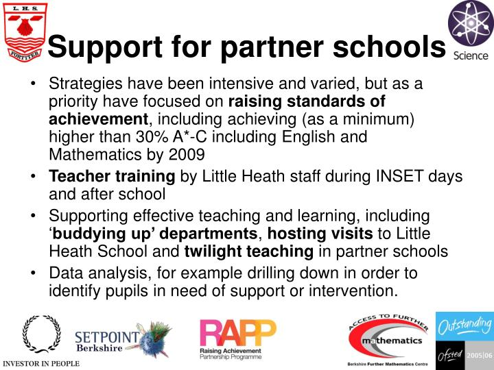 Support for partner schools