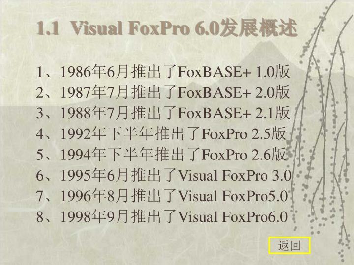 1.1  Visual FoxPro 6.0