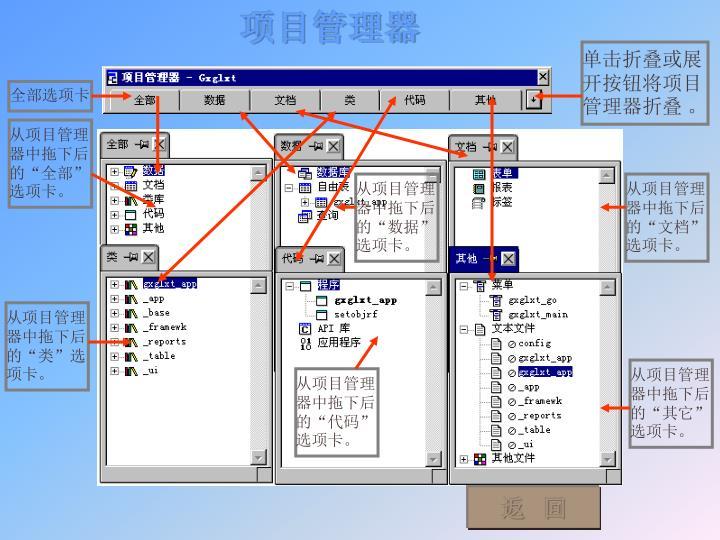 单击折叠或展开按钮将项目管理器折叠 。
