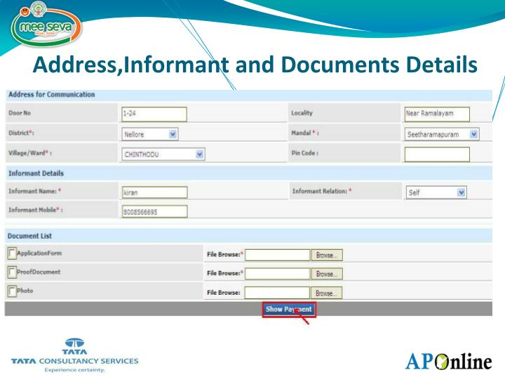 Address,Informant and Documents Details