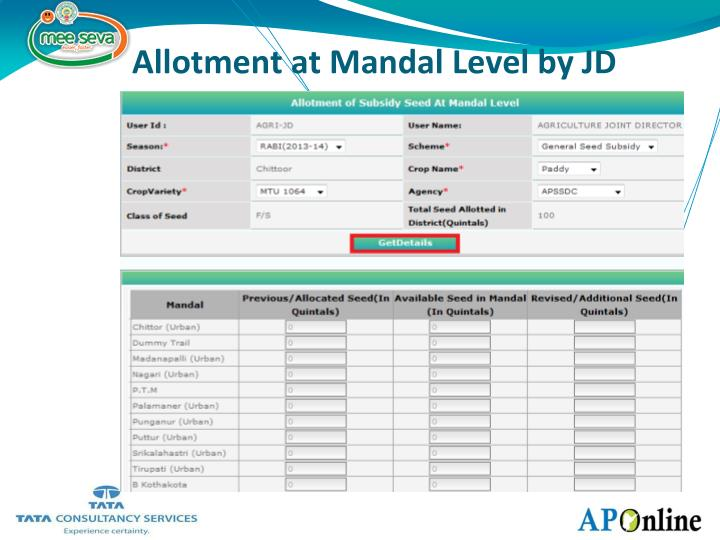 Allotment at Mandal Level by JD