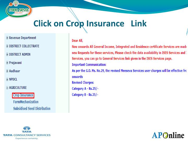 Click on Crop Insurance   Link