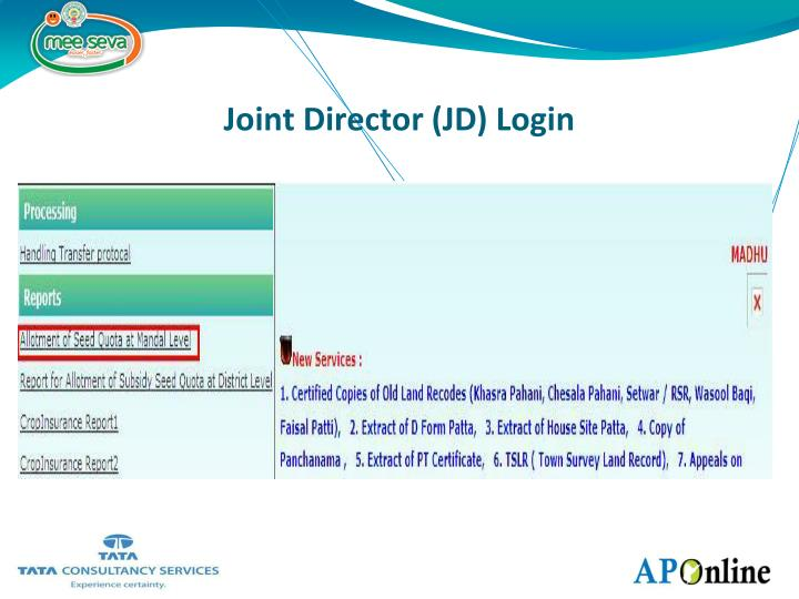 Joint Director (JD) Login