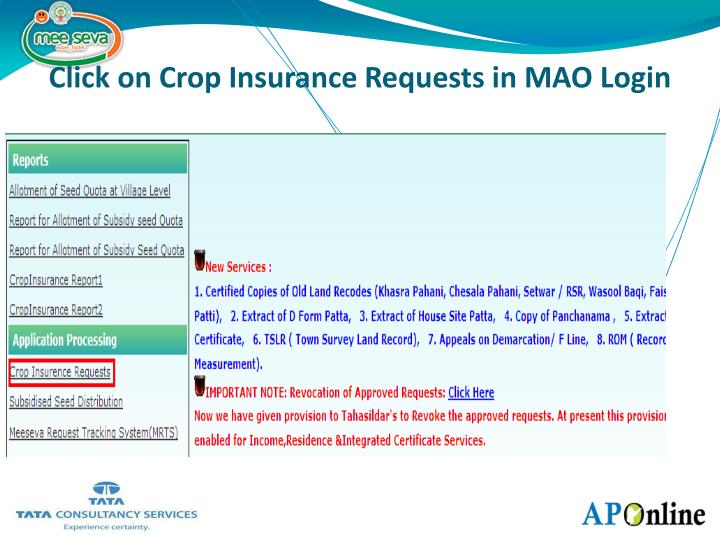 Click on Crop Insurance Requests in MAO Login