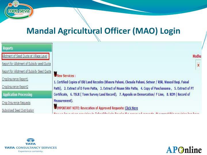 Mandal Agricultural Officer (MAO) Login