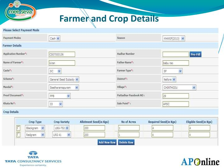 Farmer and Crop Details