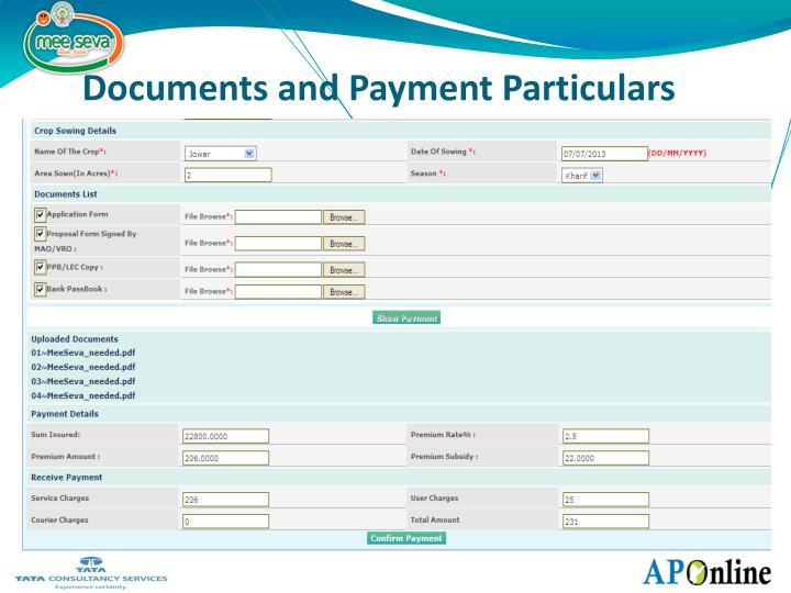 Documents and Payment Particulars