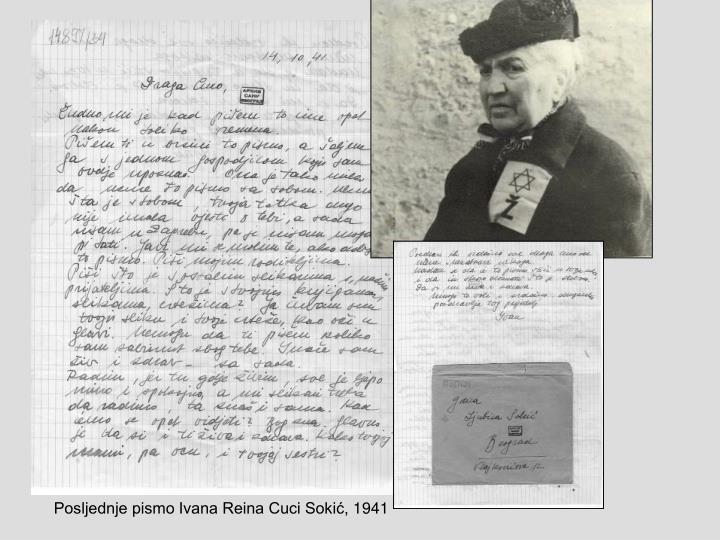 Posljednje pismo Ivana Reina Cuci Sokić, 1941