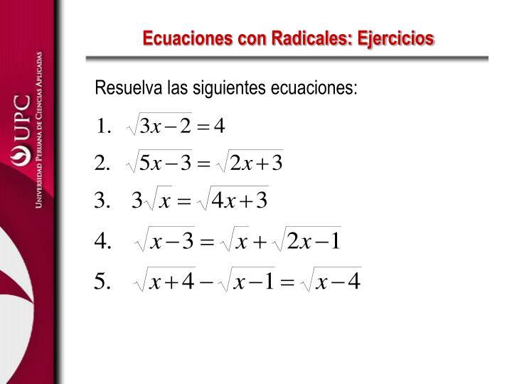 Ecuaciones con Radicales: Ejercicios