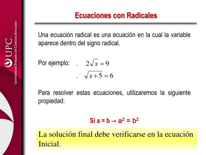 Ecuaciones con Radicales