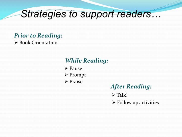 Strategies to support readers…