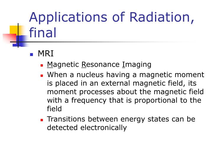 Applications of Radiation, final