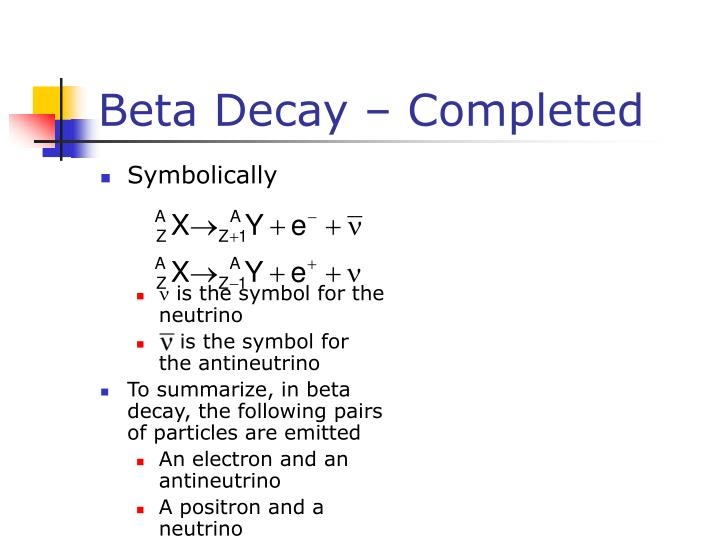 Beta Decay – Completed