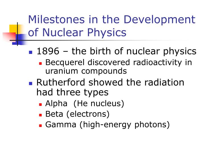 Milestones in the Development of Nuclear Physics