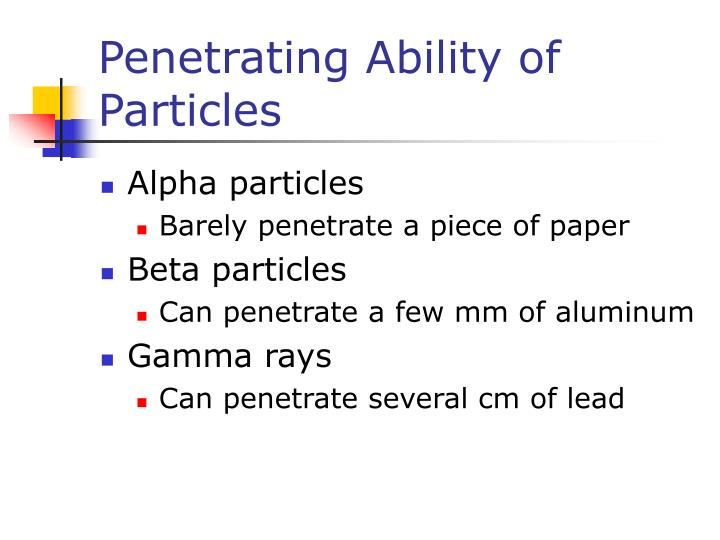 Penetrating Ability of Particles