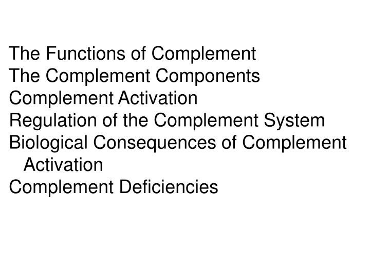 The Functions of Complement