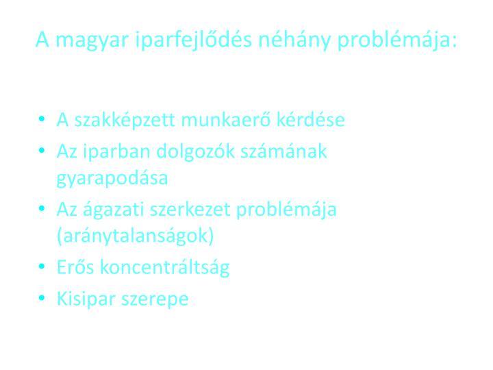A magyar iparfejlds nhny problmja: