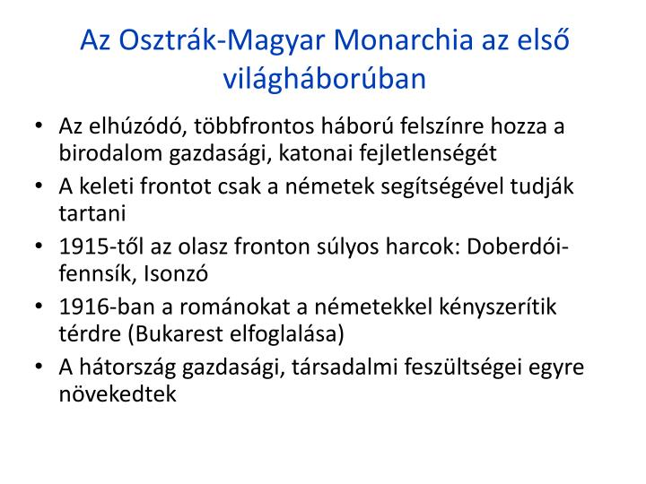 Az Osztrk-Magyar Monarchia az els vilghborban
