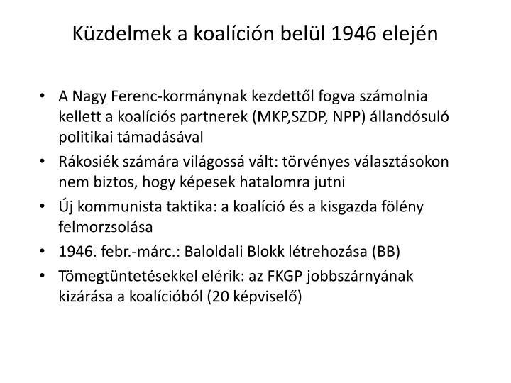 Kzdelmek a koalcin bell 1946 elejn