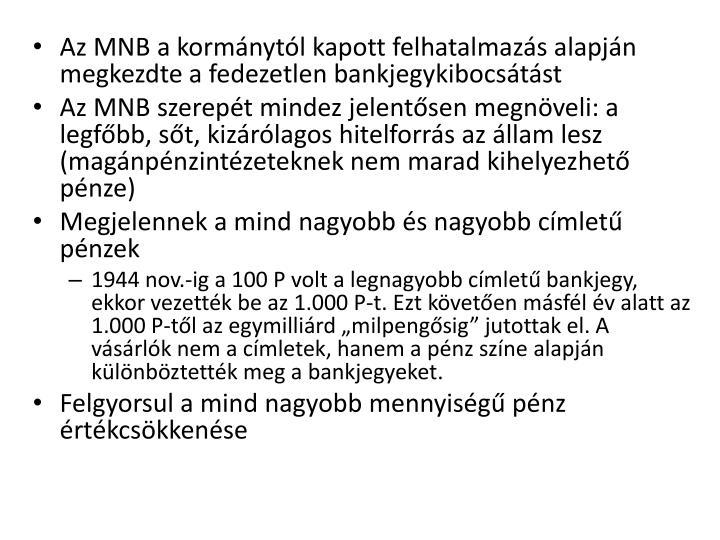 Az MNB a kormnytl kapott felhatalmazs alapjn megkezdte a fedezetlen bankjegykibocstst