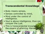transcendental knowldege