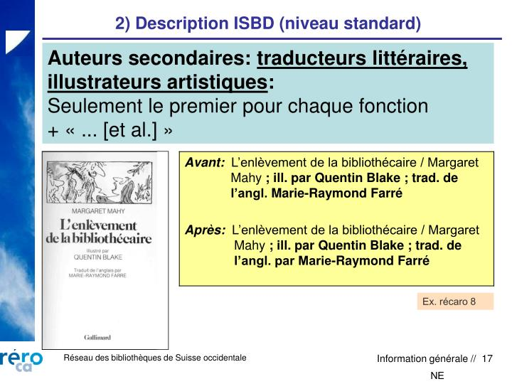 2) Description ISBD (niveau standard)