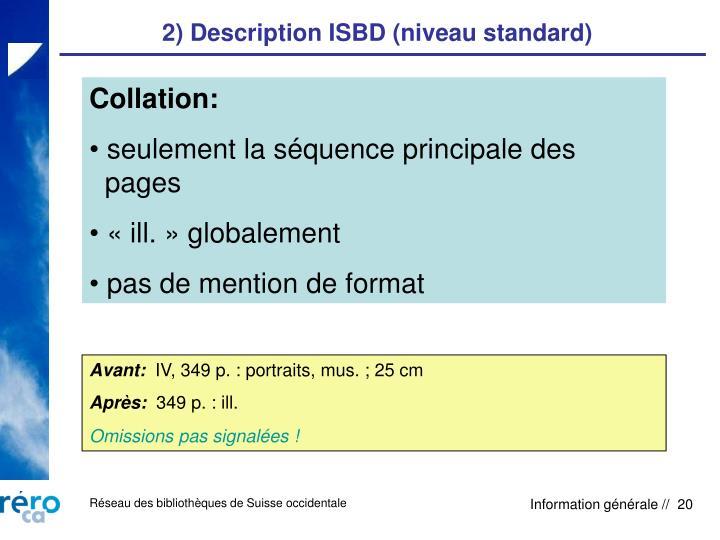 2) Description ISBD (niveau standard)