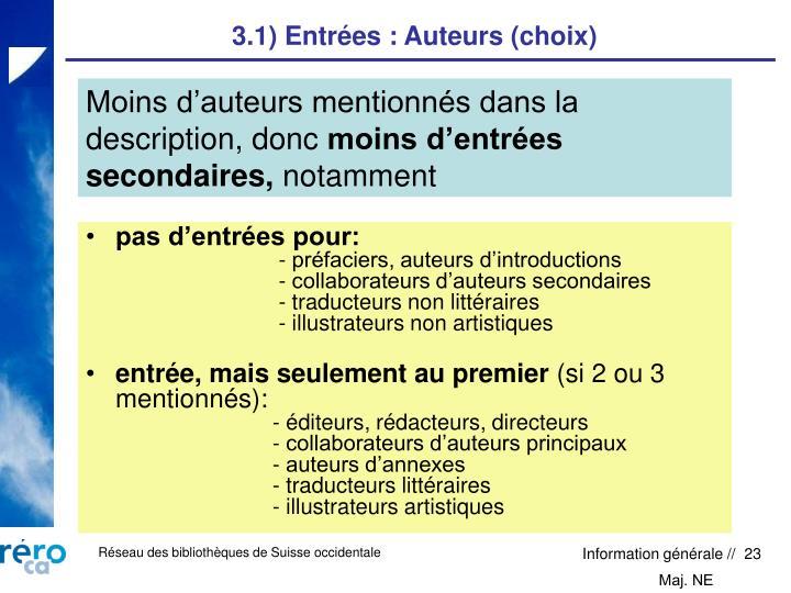 3.1) Entrées : Auteurs (choix)
