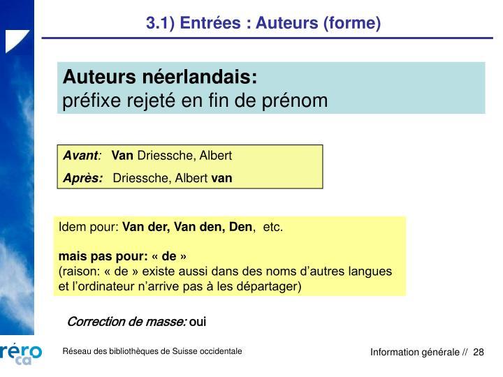 3.1) Entrées : Auteurs (forme)