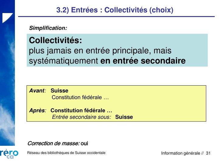 3.2) Entrées : Collectivités (choix)