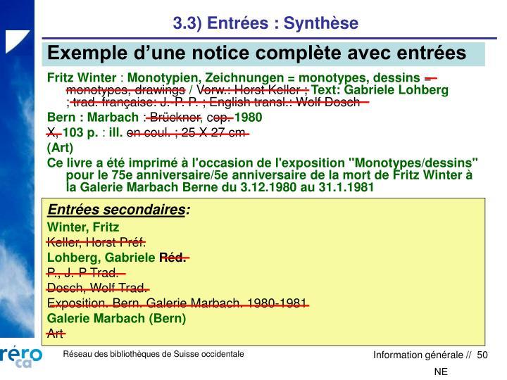 3.3) Entrées : Synthèse
