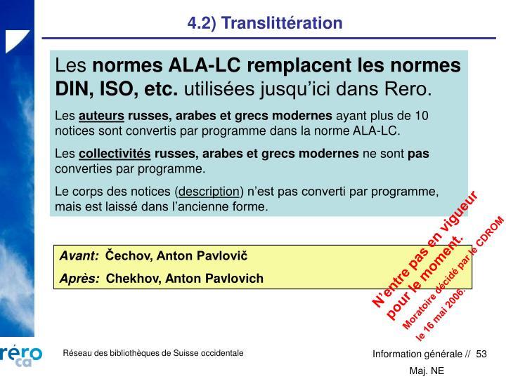 4.2) Translittération