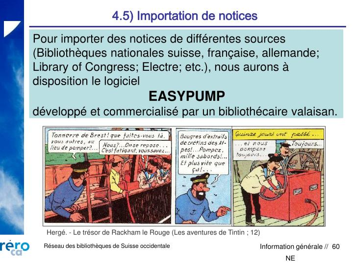 4.5) Importation de notices