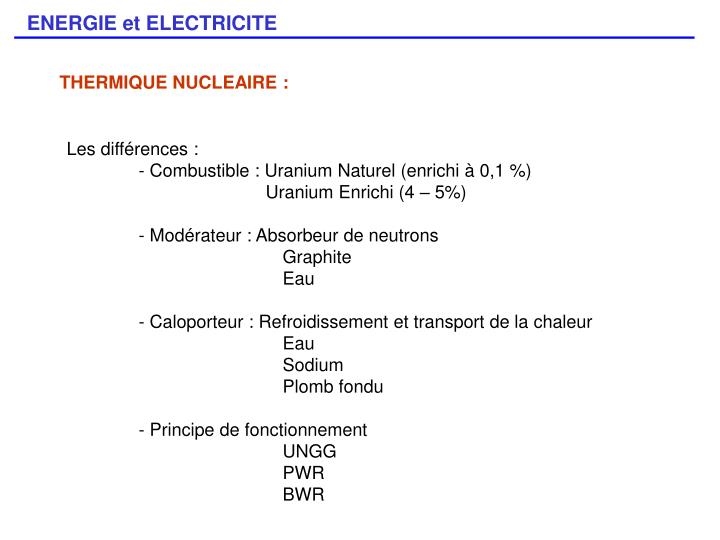 THERMIQUE NUCLEAIRE :