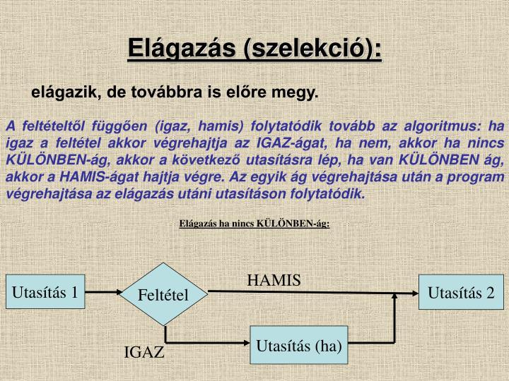 Elágazás (szelekció):