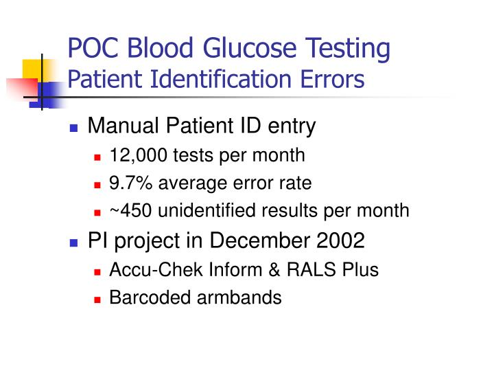 POC Blood Glucose Testing
