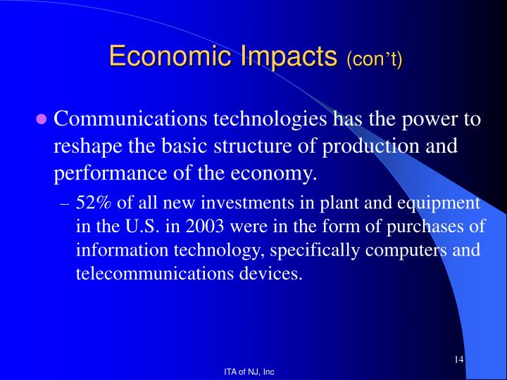Communications technologies has the power to reshape the basic structure of production and performance of the economy.