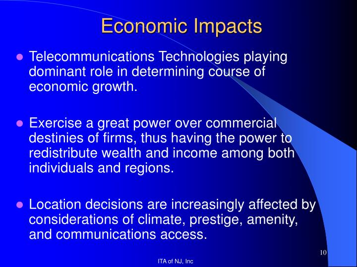Telecommunications Technologies playing dominant role in determining course of economic growth.