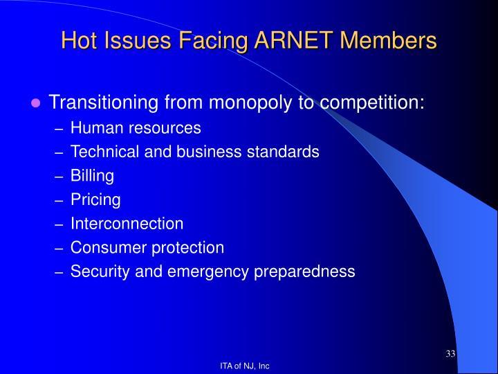 Hot Issues Facing ARNET Members