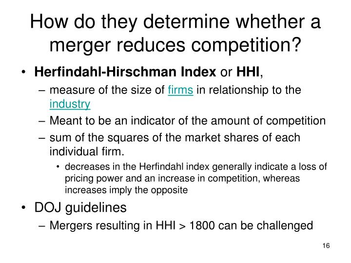 How do they determine whether a merger reduces competition?