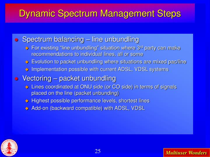 Dynamic Spectrum Management Steps