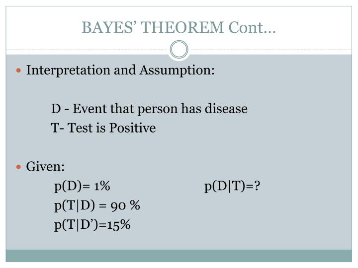 BAYES' THEOREM Cont…