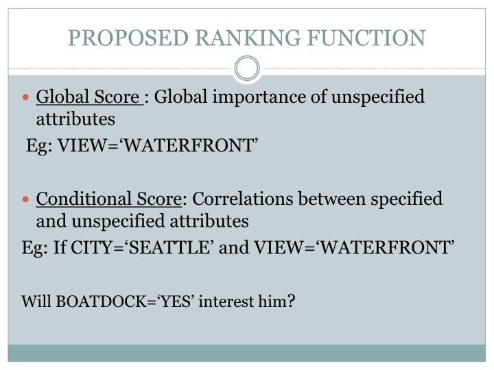 PROPOSED RANKING FUNCTION