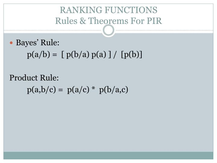 RANKING FUNCTIONS