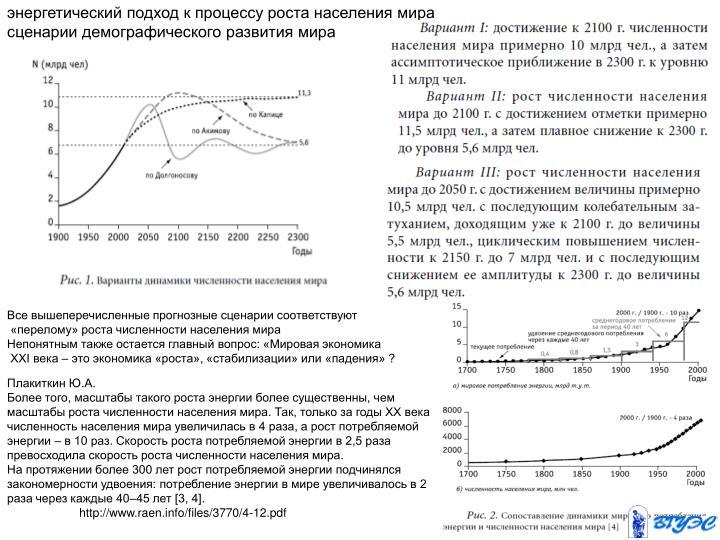 энергетический подход к процессу роста населения мира