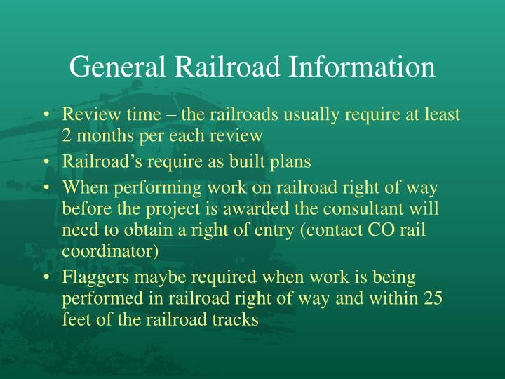 General Railroad Information