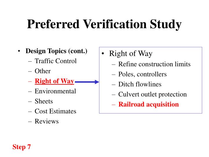 Preferred verification study