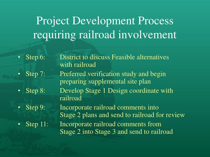 Project Development Process requiring railroad involvement