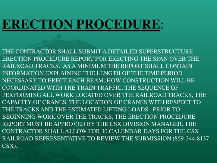 ERECTION PROCEDURE