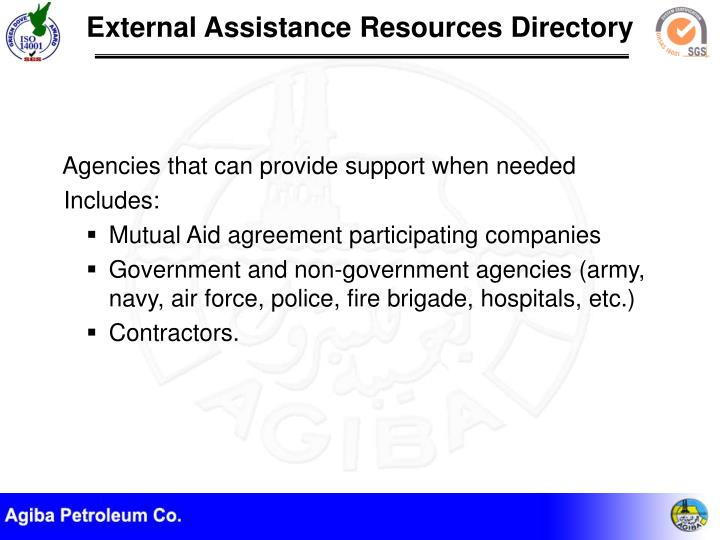 Agencies that can provide support when needed